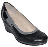 Dámska kožená obuv na platforme - čierno-šedé 9b49f40a600